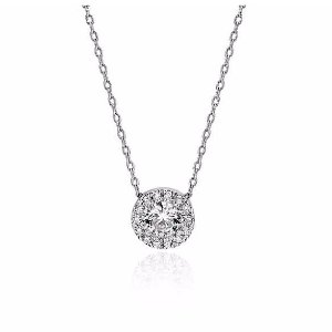 Petite Diamond Halo Pendant in 14k White Gold (1/4 ct. tw.) | Blue Nile