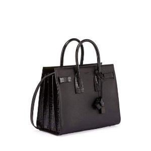 Saint Laurent Sac de Jour Small Stamped-Croc Satchel Bag, Black
