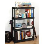 HDX 55.5 in. H x 36 in. W x 18 in. D 4-Shelf Plastic Ventilated Storage Shelving Unit in Black