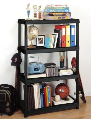 $19.88HDX 55.5 in. H x 36 in. W x 18 in. D 4-Shelf Plastic Ventilated Storage Shelving Unit in Black