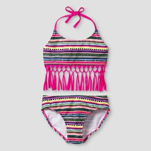 Girls' Bikini Tribal Print With Fringe Cat & Jack™ - Pink : Target
