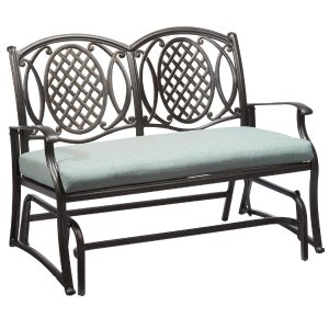 Hampton Bay Belcourt Metal Outdoor Glider with Spa Cushion-D11334-DG - The Home Depot