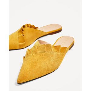 LEATHER MULES WITH FRILL - View all-SHOES-WOMAN | ZARA United States