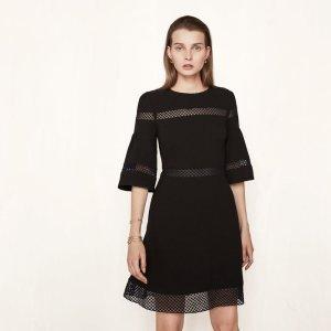RITEGE Short dress with inlaid lace - Dresses - Maje.com