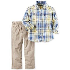 Carter's 2-Pc. Plaid Shirt & Canvas Pants Set, Baby Boys (0-24 months) - Sale & Clearance - Kids & Baby - Macy's