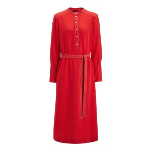 Stretch Flou Grace Dress in Red | JOSEPH