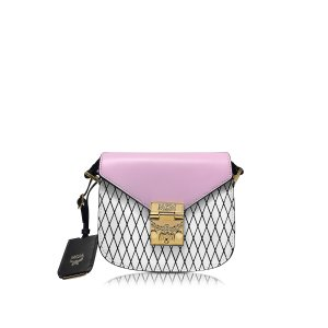 MCM Patricia Rombi White and Prism Pink Leather Shoulder Bag at FORZIERI