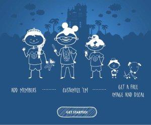免费且包邮Disney Parks家庭自制成员漫画图像贴纸