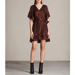 ALLSAINTS US: Womens Belle Dress (Dark Red)