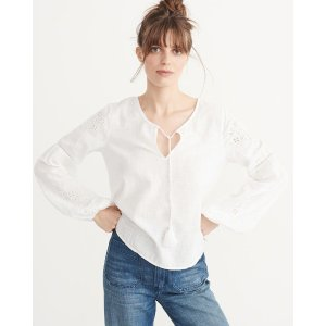 Womens Cutwork Peasant Top | Womens Clearance | Abercrombie.com
