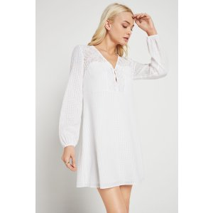 Airy Lace Inset Button-Up Shift