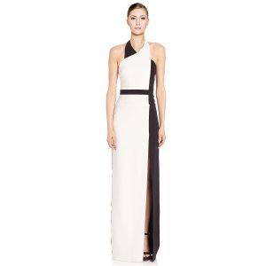 Badgley Mischka Colorblock Halter Gown | Bluefly.Com