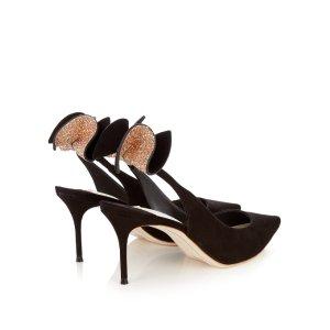 Edie embellished-bow slingback suede pumps | Sophia Webster