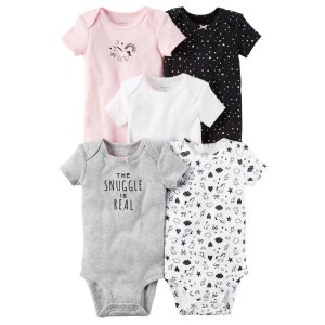 Carter's Infant Girls' 5-Pack Short-Sleeve Bodysuits - Unicorn - Clothing - Baby Clothing - Baby Bodysuits