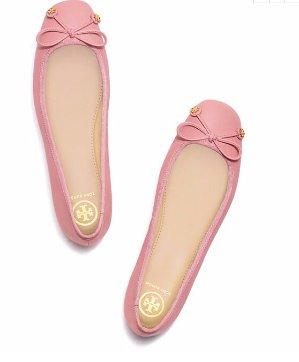最高可享7折  裸粉色美哭Tory Burch 官网精选 Laila 蝴蝶结芭蕾舞鞋热卖