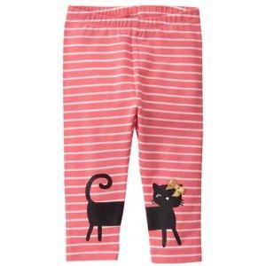 Toddler Girls Bright Pink Stripe Kitty Leggings by Gymboree