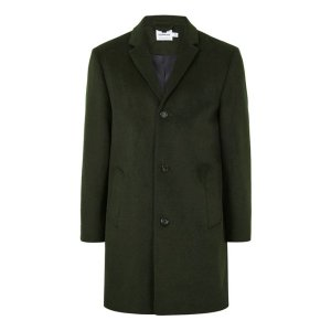 Khaki Overcoat Containing Wool