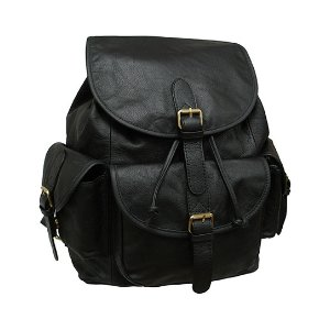 Amerileather Black Buckle Leather Backpack | zulily