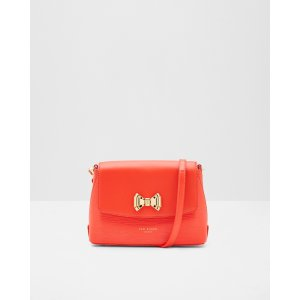 Bow detail leather cross body bag