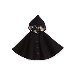 Burberry Rosa Hooded Button-Front Wool Cape, Black, Size S