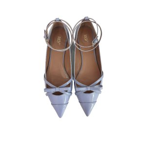 RED Valentino Ortensia Blue Patent Leather Ballerinas 35 (5 US   2 UK   35 EU) at FORZIERI