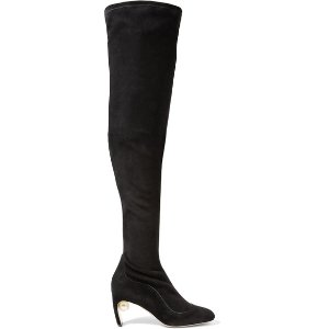 Maeva embellished stretch-suede over-the-knee boots