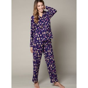 Gingerbread Men Pyjamas In A Bag - Navy | Boux Avenue