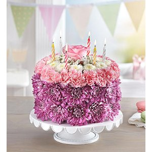 Birthday Wishes Flower Cake™ Pastel | 1800Flowers.com - 148666