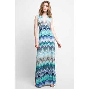 Abbeline Abstract Print Plunging Maxi Dress   South Moon Under