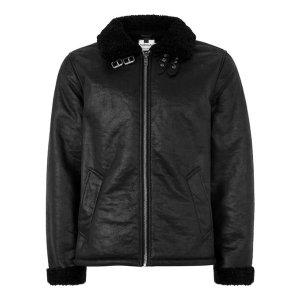 Black Faux Shearling Jacket - Coats & Jackets - Clothing