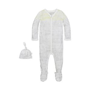 Watercolor Stripe Coverall & Hat Set - Burts Bees Baby