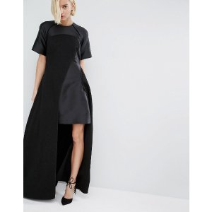 ASOS White | ASOS WHITE Textured Maxi Dress With Contrast Panels