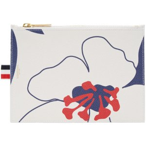Thom Browne: Tricolor Large Floral Outline Coin Purse | SSENSE