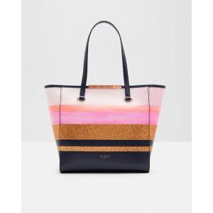 Glitter stripe shopper bag - Navy