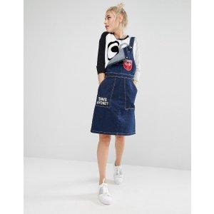 Mini Cream | Mini Cream Overall Dress In Denim With Badge Details