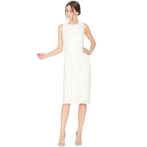 Fey Embroidered Faux Leather Lace Dress | Alice + Olivia