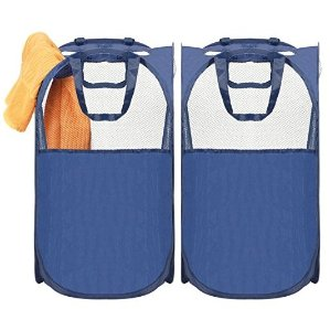 MaidMAX Pop-Up Laundry Hamper, MaidMAX Foldable Mesh Bag Basket with Reinforced Carry Handles, Blue, 2-Pack