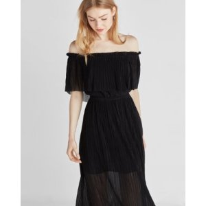 Pleated Off-the-shoulder Midi Dress   Express