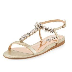 Badgley Mischka Amuse II Metallic Embellished Sandal