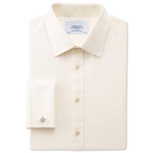 Slim fit end-on-end cream shirt | Charles Tyrwhitt