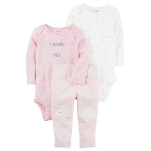 Baby Girl 3-Piece Heathered Little Character Set | Carters.com