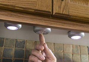 LIGHT IT by Fulcrum 30010-301 LIGHT IT 3 LED Wireless Stick-on Tap Light, 3-Pack, Silver