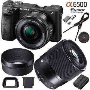ILCE-6500 a6500 Mirrorless Camera + Lens Bundle