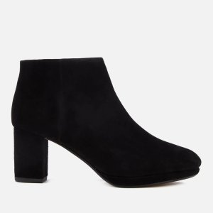 Clarks Women's Kelda Nights Suede Platform Heeled Ankle Boots - Black - FREE UK Delivery