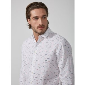 Crayon Line Linen-Blend Shirt in Bright White | Frank And Oak
