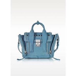 3.1 Phillip Lim Pashli French Blue Suede Mini Satchel Bag w/Studs