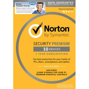 Norton Security Premium for 10 Devices, 1 Year, and Bonus Norton Computer Tune Up