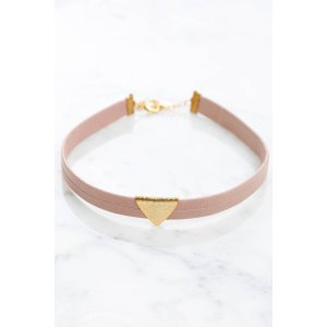 Pink Leather Choker Necklace