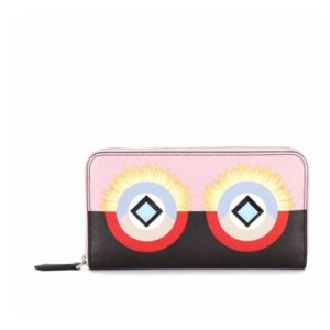 Fendi - Crayons Square Eyes Leather Zip-Around Wallet - saks.com
