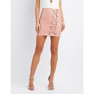 Faux Leather Lace-Up Skirt | Charlotte Russe